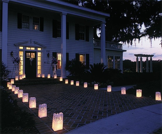 If you are looking for a unquie way to line to light up the walk way at your wedding reception then the wedding dove luminaries bags will add the elegant look.