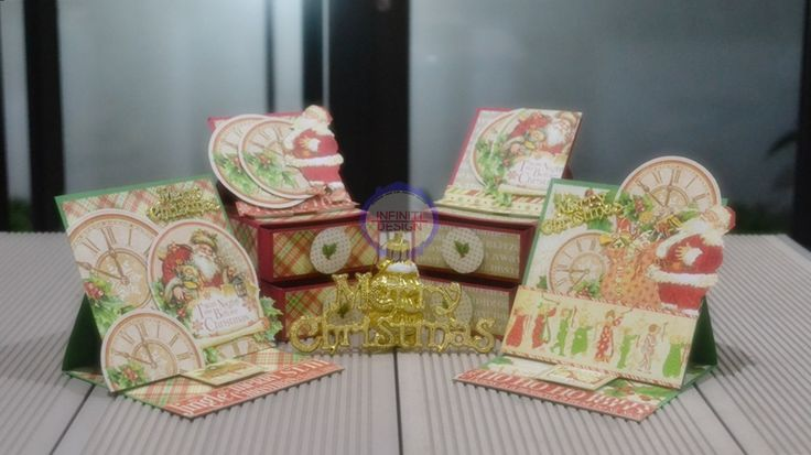 """christmas set easel card and drawer using G45 12""""paper pad """"Twas The Night Before Christmas"""""""