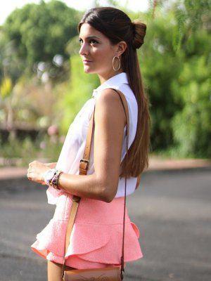 marilynscloset Outfit Verano 2013. Combinar Camisa-Blusa Blanca Primark, Shorts Rosa chicle Zara, Cómo vestirse y combinar según marilynscloset el 1-8-2013
