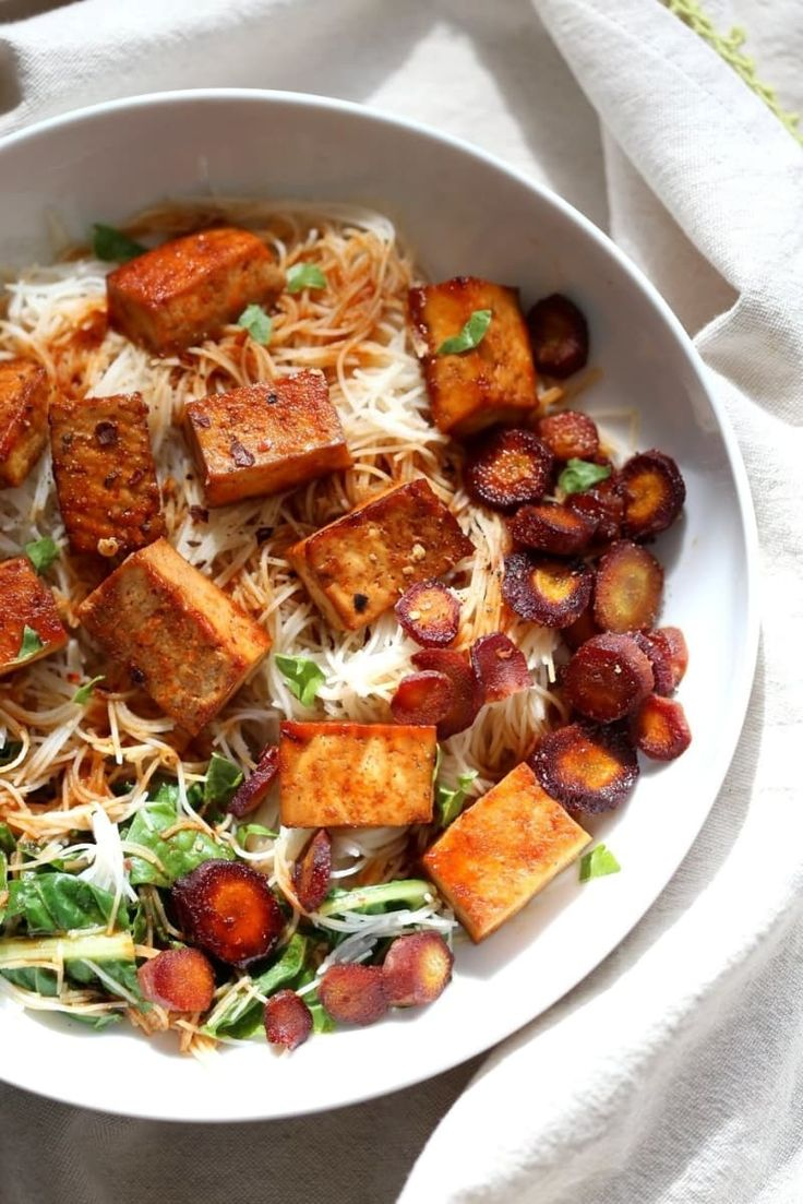 Baked Chili Garlic Tofu, Carrot, Chard and Noodle Bowl - 42 Easy Vegan Recipes Anyone Can Master