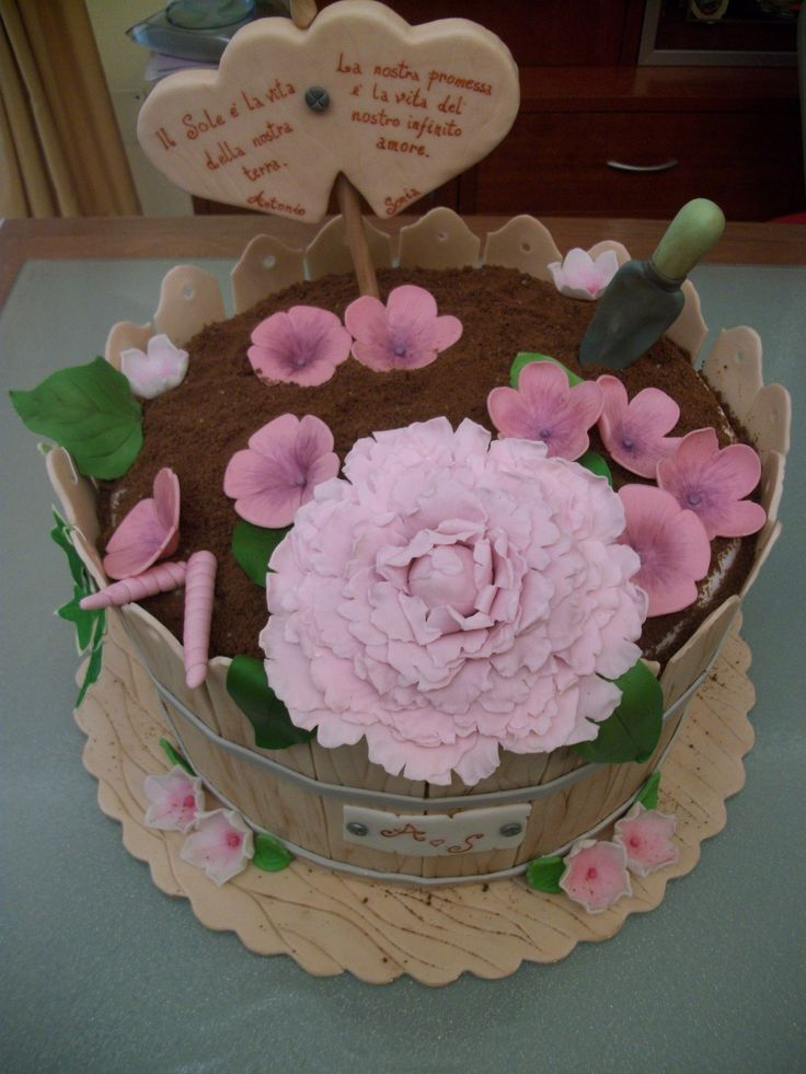 Torta in pdz vaso di fiori