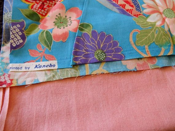 Vintage Japanese Fabric Sampler Set of 2 - Colorful Flowers Fabric - Pink Blue Fabric - Japanese Traditional Fabric