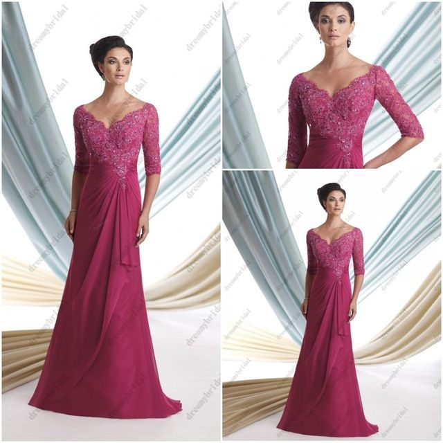 Free Shipping Modest mother of the bride groom dresses with sleeves plus size chiffon and lace wedding party dresses113925