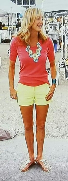 Lara Spencer outfit. Lime shorts, watermelon top, statement necklace in teal.