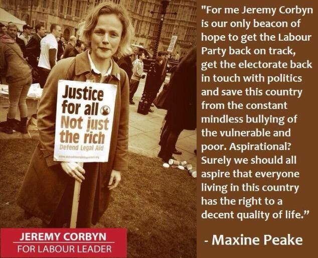 "The amazing Maxine Peake backs Jeremy Corbyn, ""the only beacon of hope to get Labour back on track"" #JezWeCan"