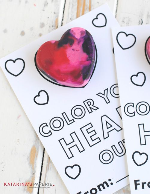 "We can't believe Valentine's Day is coming up so quickly.  My favorite part of the holiday is coming up with creative little treats for my kids to hand out.  I love the cute sayings and matching them to fun goodies for classroom Valentine's Day parties.  I recently came across the phrase ""Color Your Heart Out"" …"