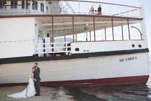On the beach in front of the SS Sicamous - Wedding Photography by Lorena Astrid