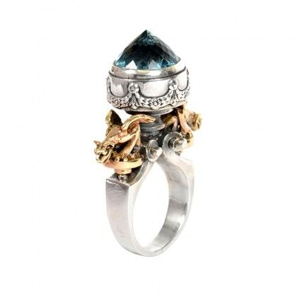 Topaz Urn ring in gold and silver. By William Griffiths at Metal Couture