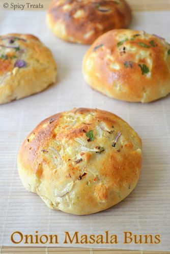 Onion Masala Buns / Soft n Delicious Savory Buns With whole wheat flour, Eggless recipe with step by step pictures.