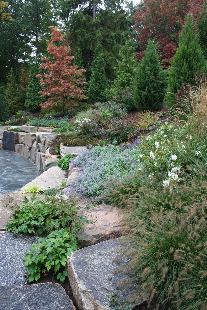 Hillside mountain front yards astonishing rock for Hillside landscaping