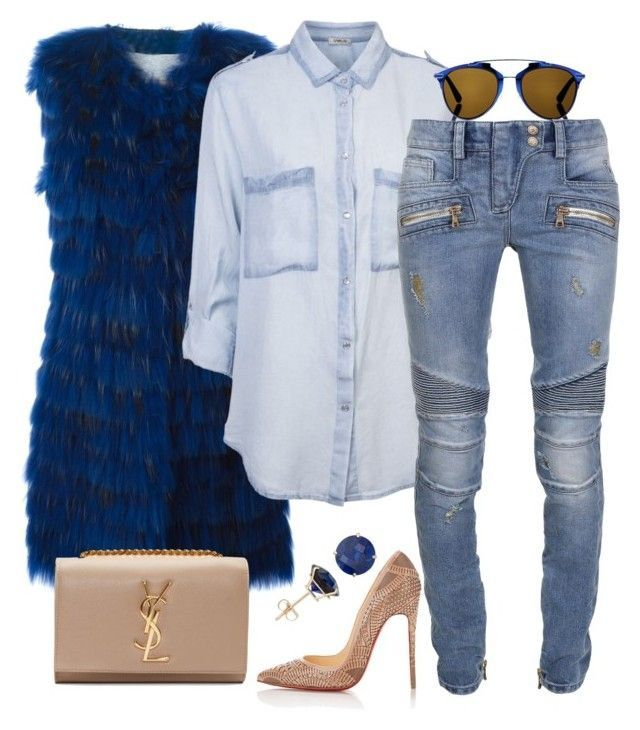 """Casual"" by fashionkill21 ❤ liked on Polyvore featuring Numerootto, Christian Dior, Balmain, Christian Louboutin and Yves Saint Laurent"