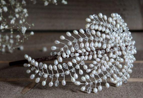 Tocado de novia tiara de lado la boda vintage por JoannaReedBridal