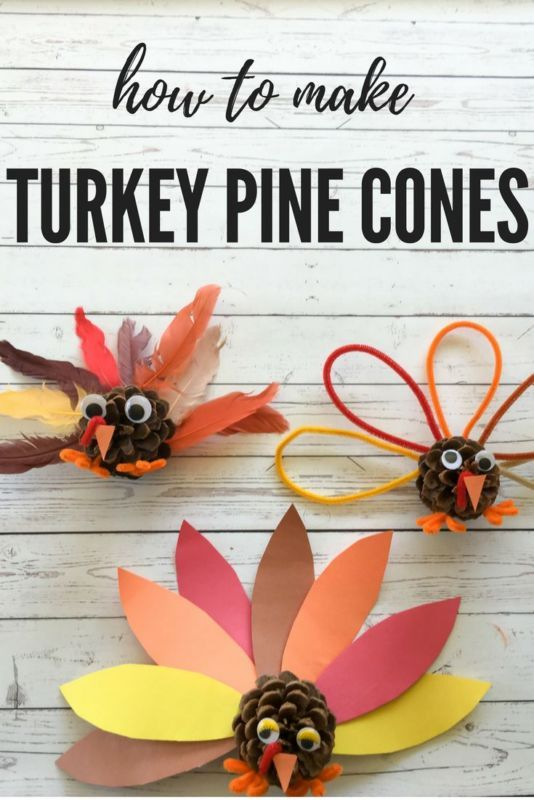 Make this easy pine cone turkey craft with the kids can make for holiday decorations and table settings. [ad]