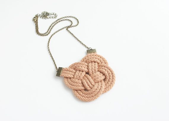 Beige nude necklace neutral tan knotted nautical by elfinadesign