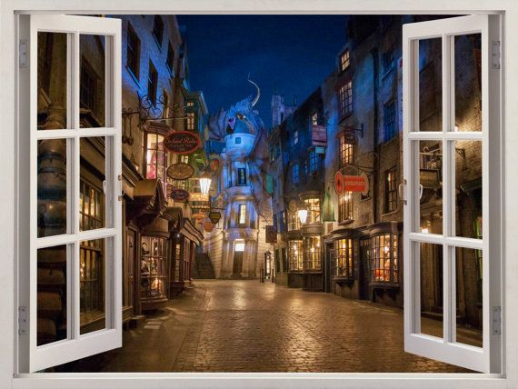 3d fenster winkelgasse wandtattoo von windowgallery2016 auf etsy harry potter pinterest. Black Bedroom Furniture Sets. Home Design Ideas