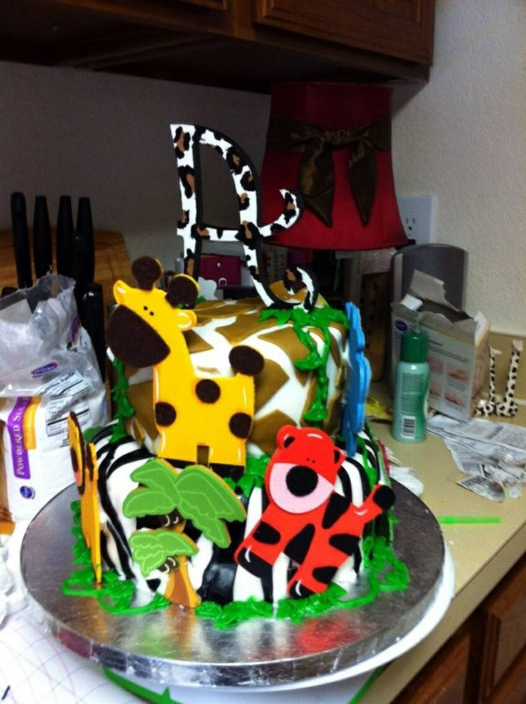 Two tiered fondant Baby shower jungle cake