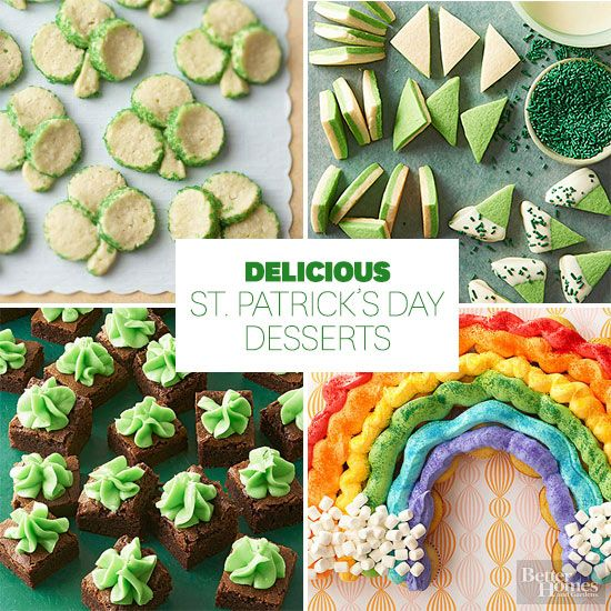 Get excited for St. Patrick's Day with these tasty desserts! From shamrock cookies to rainbow cupcakes, you'll find just the treat to bring to work or school to celebrate the Irish holiday. Everyone will be impressed with these homemade desserts.