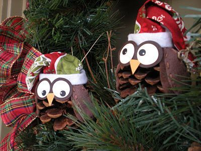 Christmas Owls @Ian Tuck Hahn little thing called Love: I participated in an online ornament exchange over at Craft Goodies. I hope they like them! They were so fun to make and pretty easy too. I used a pine cone for the body, felt for the wings and hat, some Christmas material for the top part of the hat, and the eyes and beck are paper. (These are the only instructions given for making them.) - Crafting By Holiday