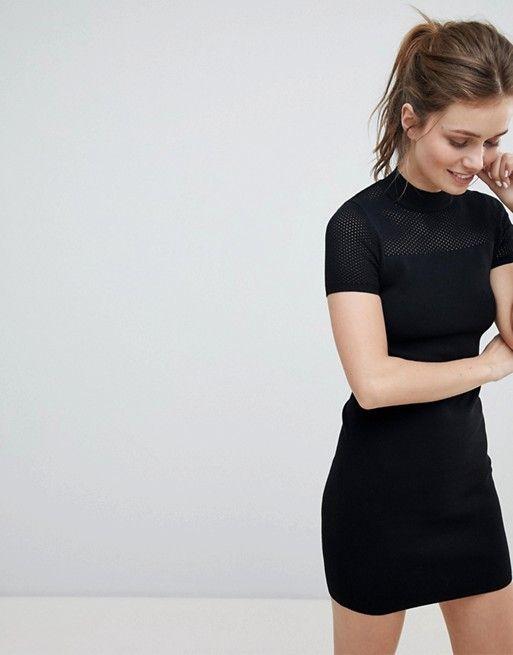 b024759f58d8 Bershka | Bershka High Neck Knitted Mini Dress | clothes | Pinterest ...