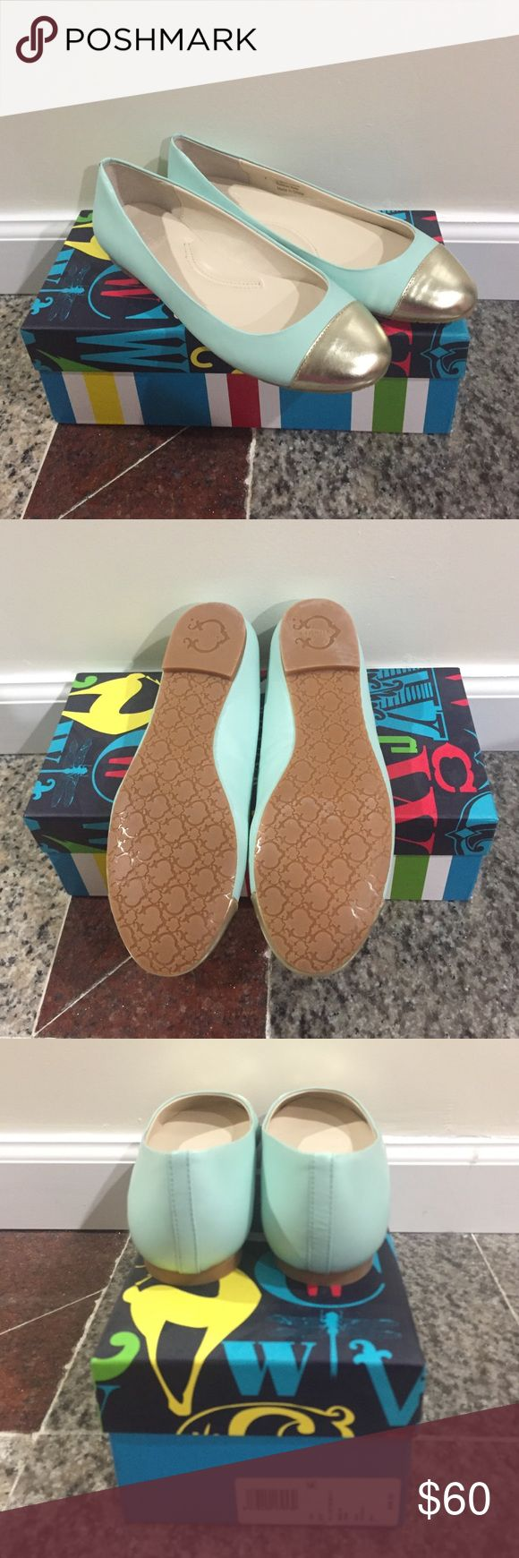 NIB C Wonder Mint and Gold Cap Toe Flats Beautiful mint and gold genuine leather cap toe flats! C Wonder brand is now discontinued.                      Price is negotiable! Shoes Flats & Loafers