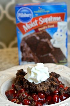 Black Forest Dump Cake recipe! Take your holiday favorites and make them easy! It's perfect for the holidays! Sponsored by the J.M. Smucker Company