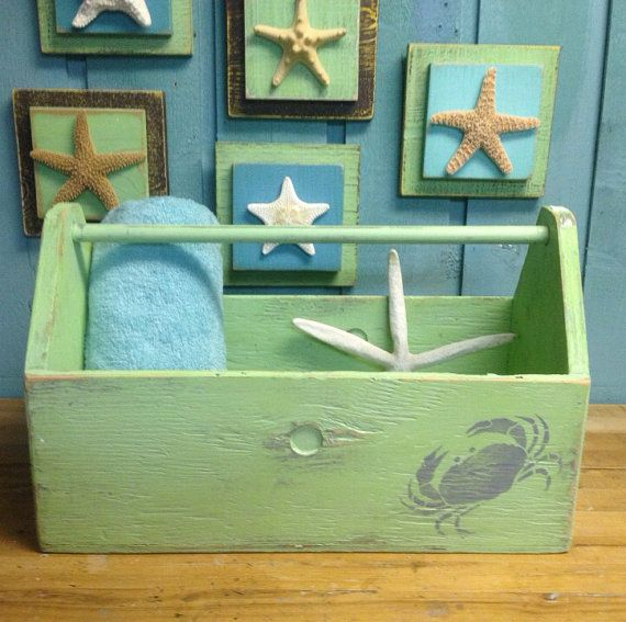 Beach House Tool Towel Tote Crab Crate Vintage Seaglass Green by CastawaysHall READY TO SHIP