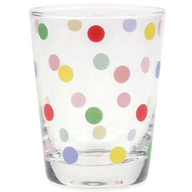Dotty glass from Cath Kidston... How nice to have a glass of fresh orange juice in this!