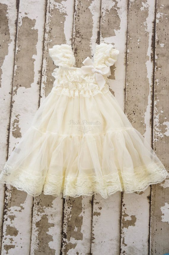 lace flower girl dress girls ivory dress rustic by PoshPeanutKids, $45.00