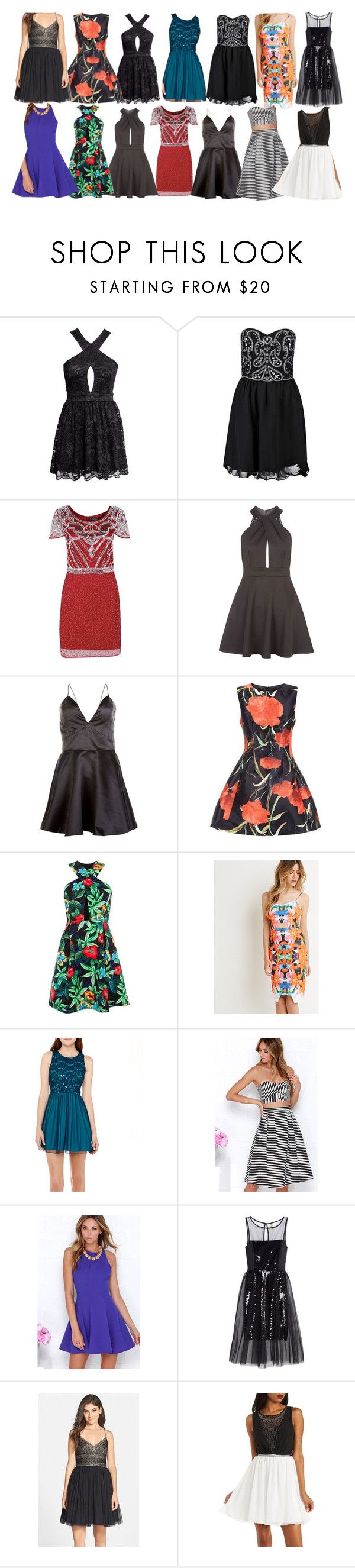 """""""Aria Montgomery inspired short formal dresses"""" by liarsstyle ❤ liked on Polyvore featuring H&M, Boohoo, John Zack, AX Paris, Girls On Film, Forever 21, Swat, LULUS, Adrianna Papell and Charlotte Russe"""