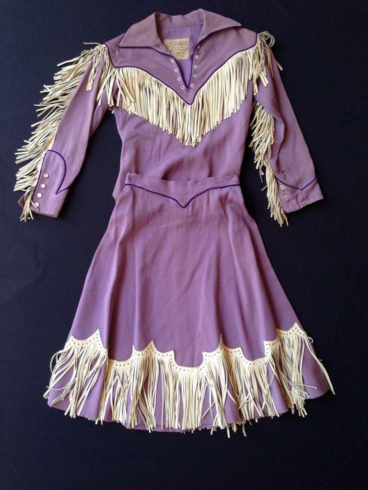 vtg NUDIE COHN western cowboy Jacket Skirt suit outfit RARE fringe leather wool