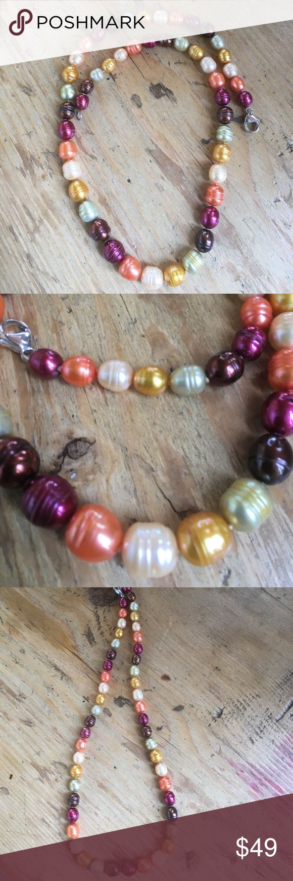"""Honora Sunset Colors Pearl Necklace 18"""" This is a Honora necklace from QVC some years back. It is 18"""" graduated in size ringed pearls. I don't have the box anymore. Sorry no trades. Honora Jewelry Necklaces"""
