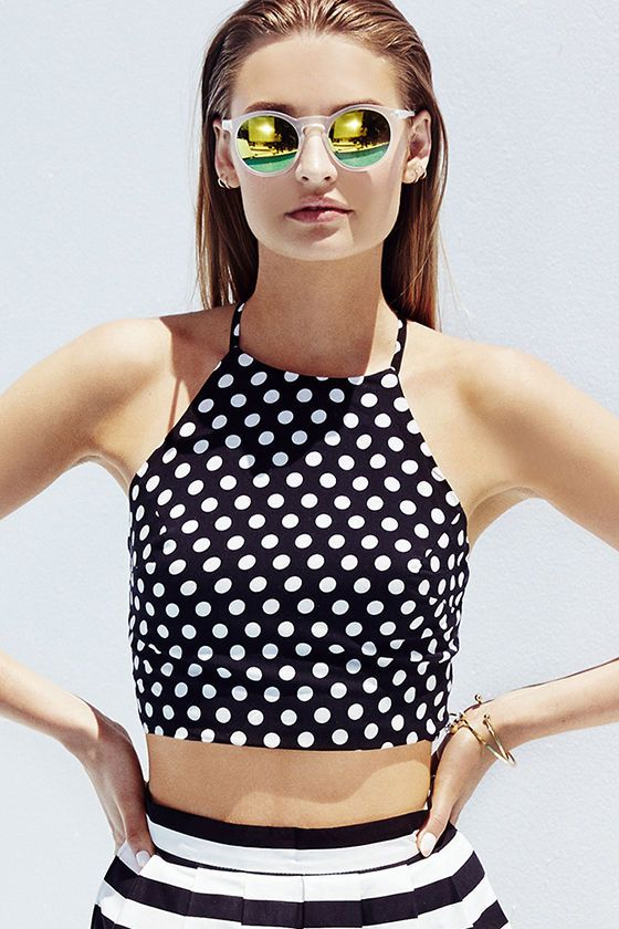 black and white polka dot crop top paired with a striped skirt #summer