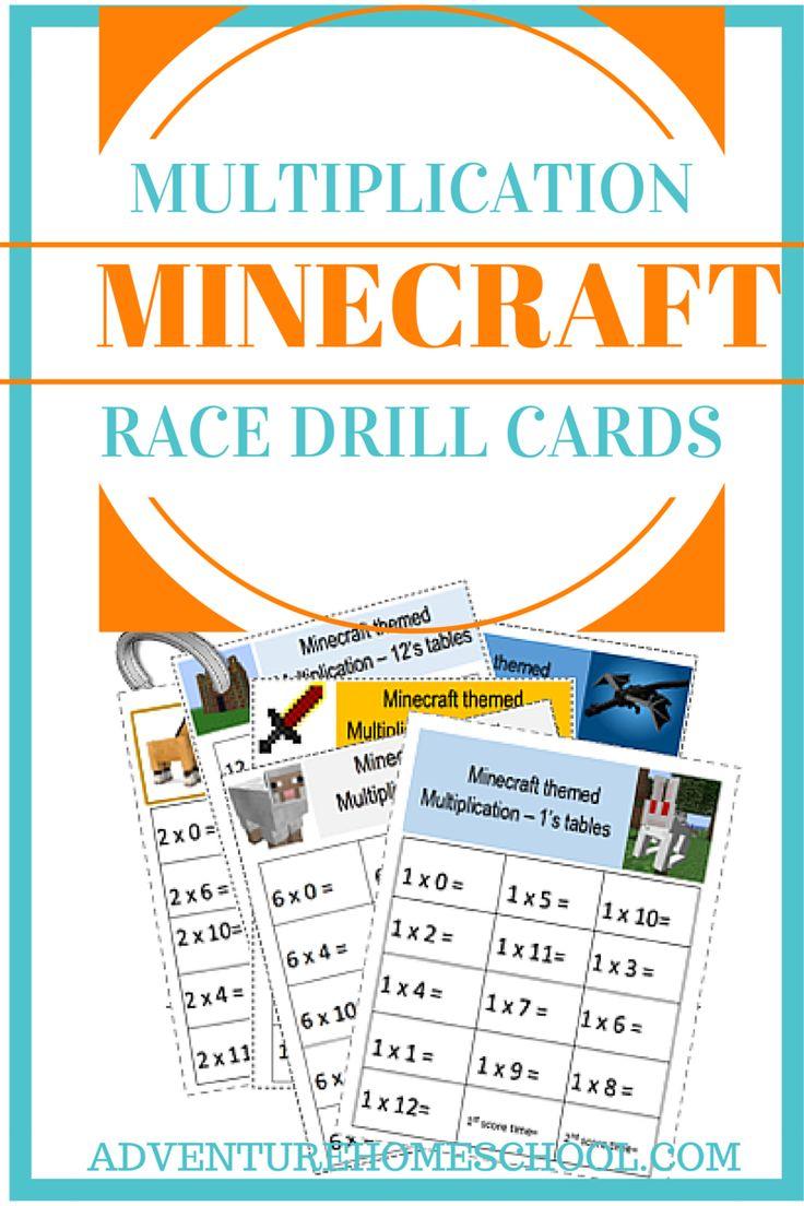 Minecraft Multiplication Race Cards