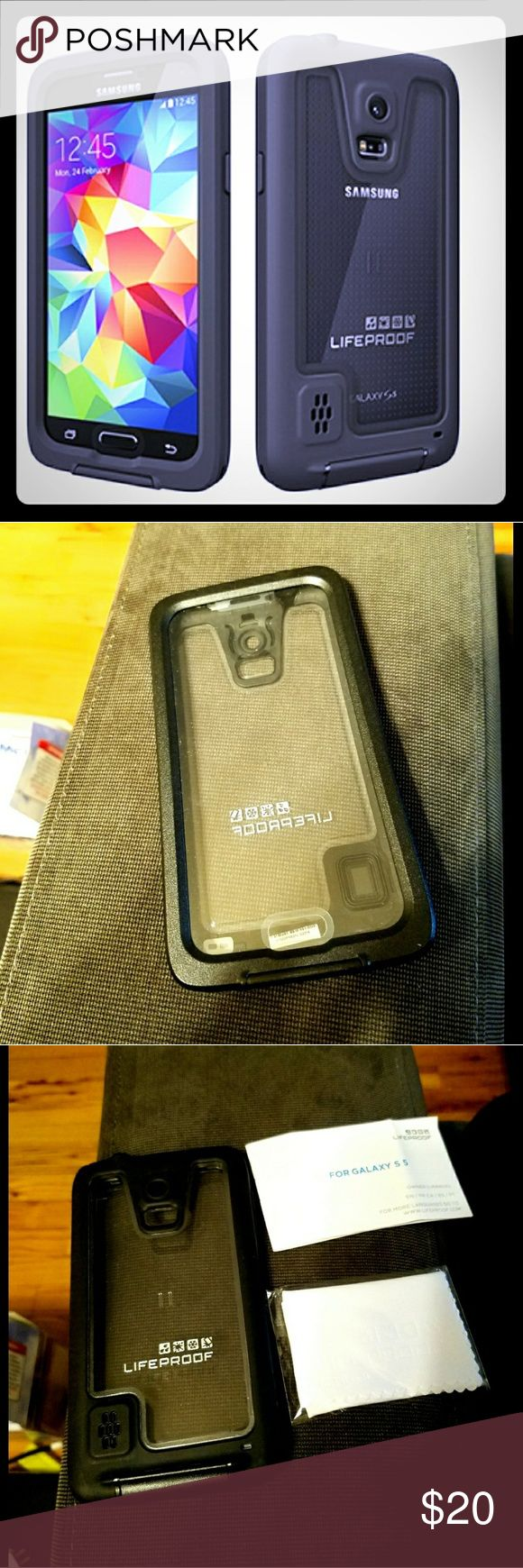 LIFEPROOF Samsung Galaxy S5 Case LIFEPROOF Fre Samsung galaxy S5 case in black. Used 2 times , in great condition, no damages.  ??Water Proof  ??Dirt Proof  ?? Snow Proof  ??Shock Proof  Comes with original box, instruction manual and un opened Microfiber cloth. LifeProof Accessories Phone Cases