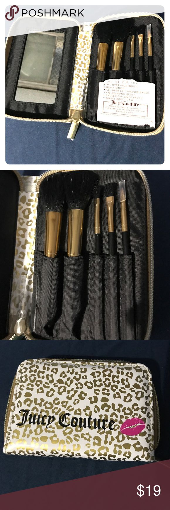 Juicy Couture Brush set Brand new and have never been used Juicy brushes come in travel brush case with mirror. Comes with 5 brushes: all over face brush, blush brush, all over eye shadow brush, eye defining brush, angled eye liner brush Juicy Couture Makeup Brushes & Tools