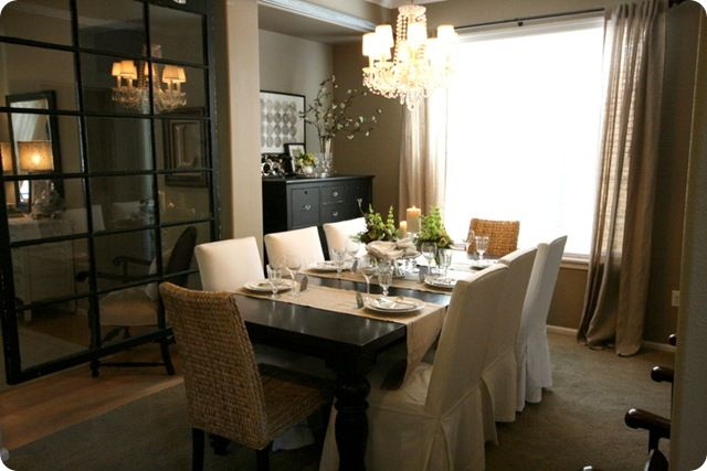 Future dining room:  black farmhouse table, seagrass and upholstered chairs from Ikea, burlap runners, perfect