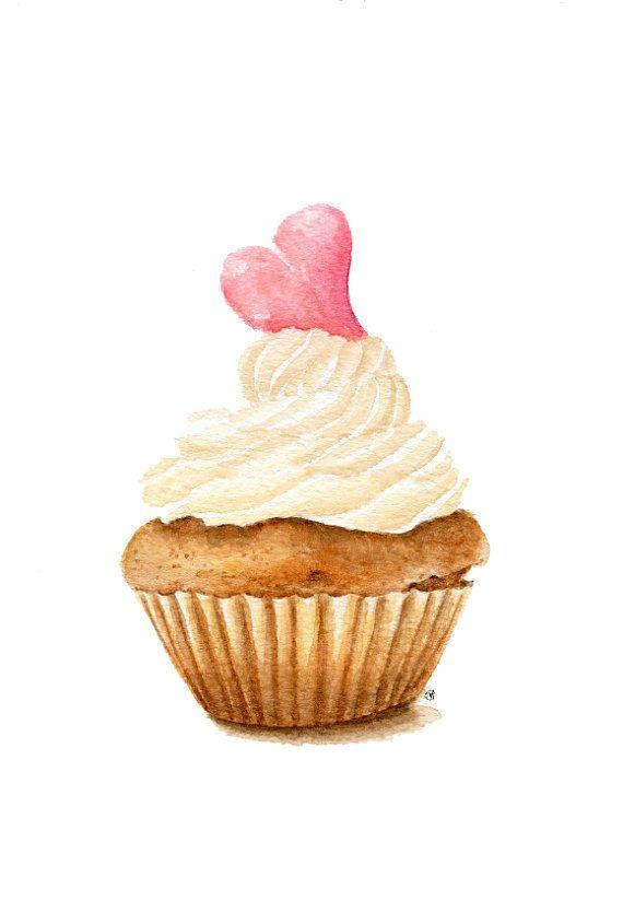 ORIGINAL Painting - Cupcake (Sweet Food Watercolors Wall Art, Still Life) A5