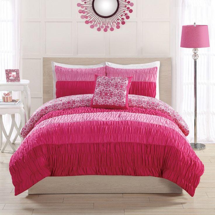 colorfall ruching pink comforter set