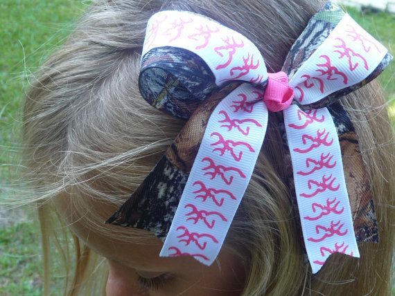 Browning Deer and Mossy Oak Camo Bow / Cheer by bowsforthebelle, $5.50