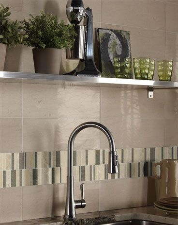 Marble Collection Subway Tile In Havana Tan And Warm Waterfall Blend Accent  · Backsplash IdeasBacksplash ...