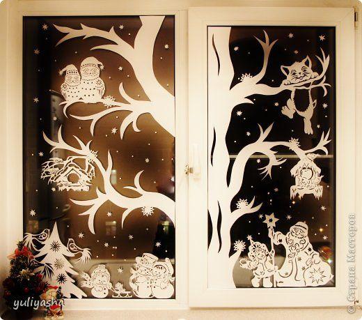 Картина панно рисунок Новый год Вырезание Новогодние окна   Бумага фото 1