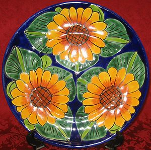 Mexican-Talavera-Pottery-Decorative-Plate-Hand-Painted-Beautiful-sunflowers