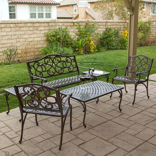 Vintage Cast Aluminum Patio Furniture Chaise Lounge With 2