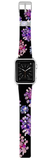 Casetify Apple Watch Band (42mm) {{case}} - purple flowers on black apple watch by Marianna #Casetify