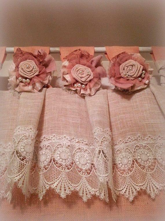 Pale rose Ivory burlap valance Shabby chic window