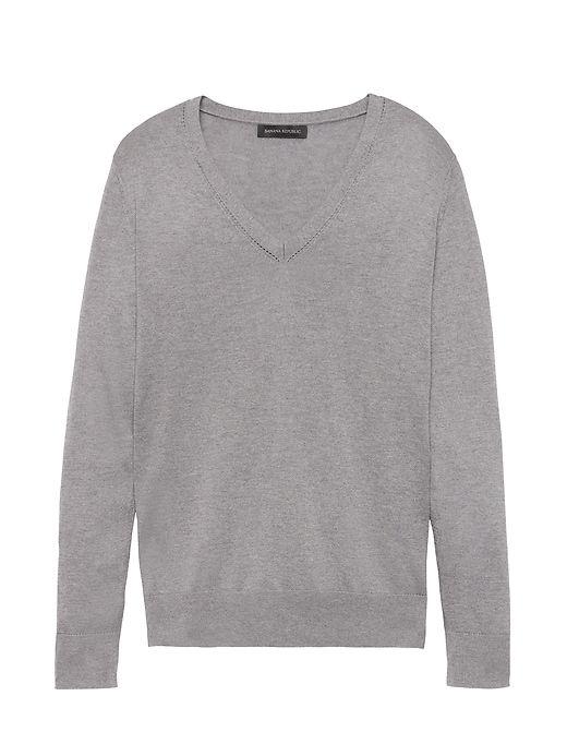 Banana Republic Womens Silk Cotton Boyfriend V-Neck Sweater Heather Grey f1327bc1e