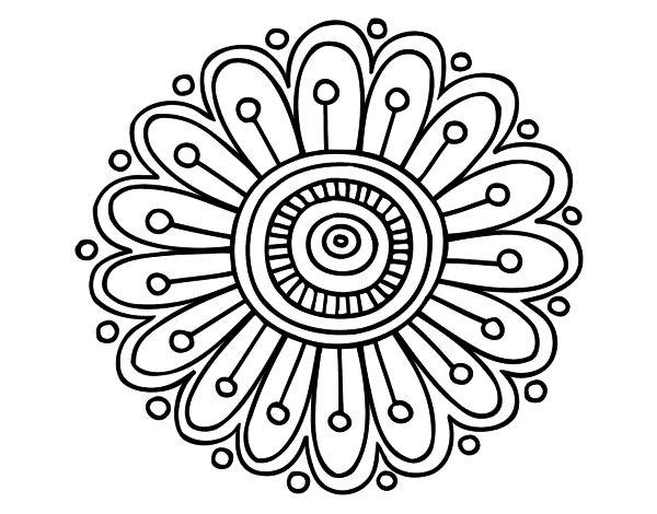 Dibujo de un Mandala margarita para pintar, colorear o imprimir. Colorea online…
