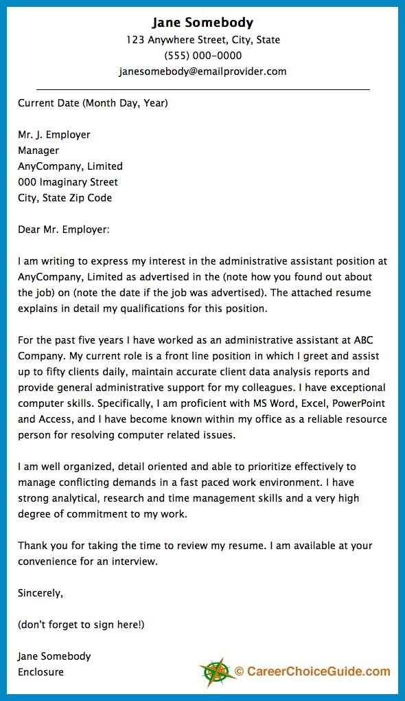 cover letter sample for an administrative assistant - Adminstrative Assistant Cover Letter