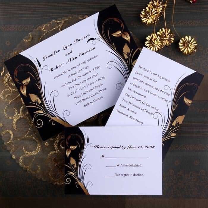 black and brown winter affordable wedding invitations