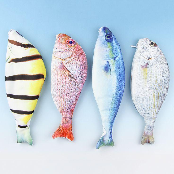 1 UNID Creativa Forma de Los Pescados del Paño Del Estilo Caja de Lápiz de Kawaii Corea Caja de Lápices Bolsas de Papelería Útiles Escolares Pluma Caliente